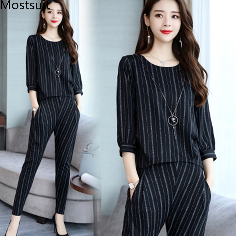 Striped Two Piece Set Women Spring Autumn 3/4 Sleeve Tops And Harem Pants Sets Suits Casual Office Fashion 2 Piece Women's Sets