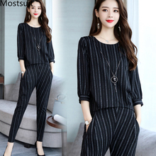 Striped Two Piece Set Women Spring Autumn 3/4 Sleeve Tops And Harem Pants Sets Suits Casual Office Fashion 2 Womens
