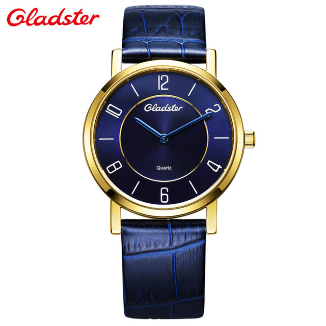 Gladster Fashion Business Watch Men Quartz Wrist Watch Blue Dial Real Leather Strap Luxury Men's watches Ultra Thin Male Clock