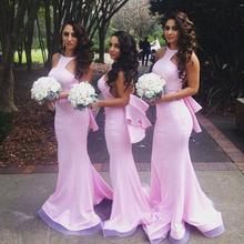 Sexy 2016 Mermaid Halter Pink Open Back Long Bridesmaid Dresses Cheap Under 50 Wedding Party Dresses