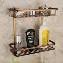 Europe Antique Bathroom Shelves Double Layer Towel Rack Space Aluminum Bronze Bathroom Shelf Storage Rack 300*360*140mm