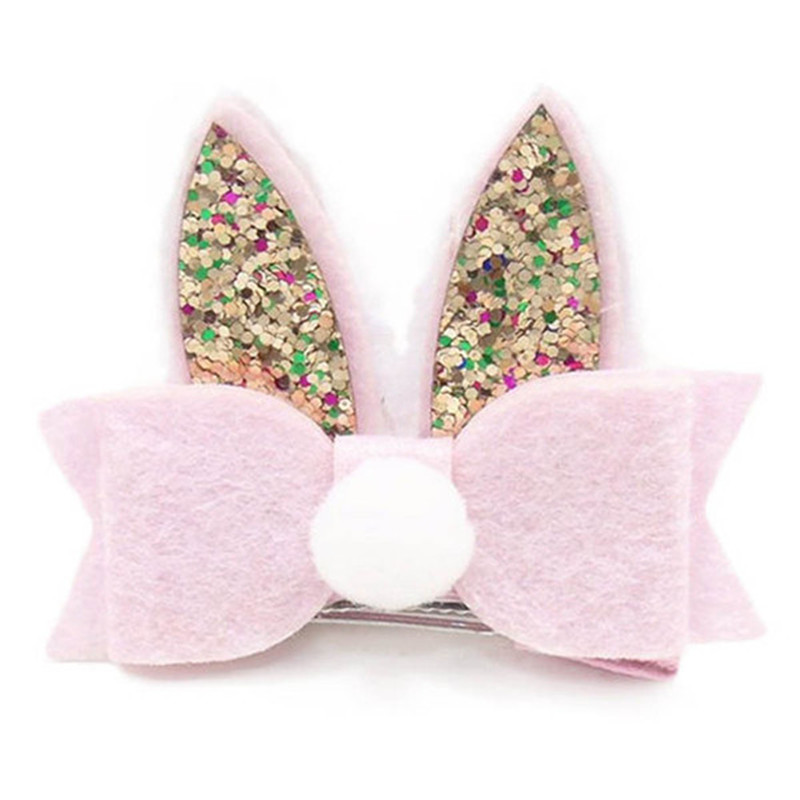 Cute Baby Girls Toddler Kids Sequined Rabbit Ear Hair Clip Bow Hairpin Barrette