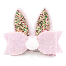 Baby Girls Toddler Kids PomPom Sequined Rabbit Ear Hair Clip Bow Hairpin Barrett(China)