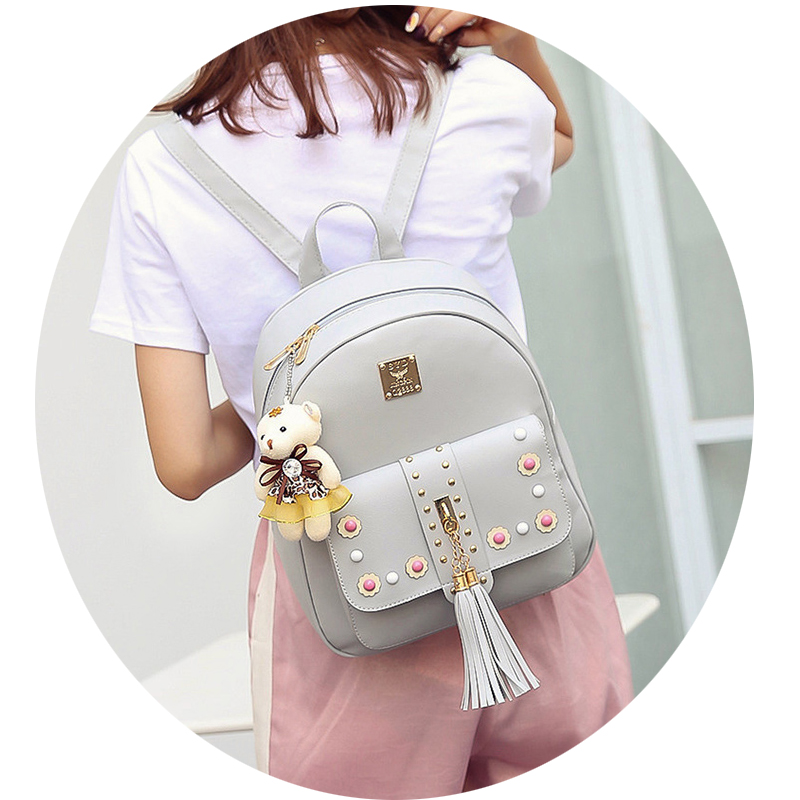 Backpack Female 3 Piece Combination Composite Bag Bear Hanging Inlaid Imitation Diamond Tassel Fashion Casual Shoulder Bag 44