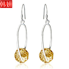 All-match pure silver earrings 925 pure silver crystal earrings earring sparkling 221