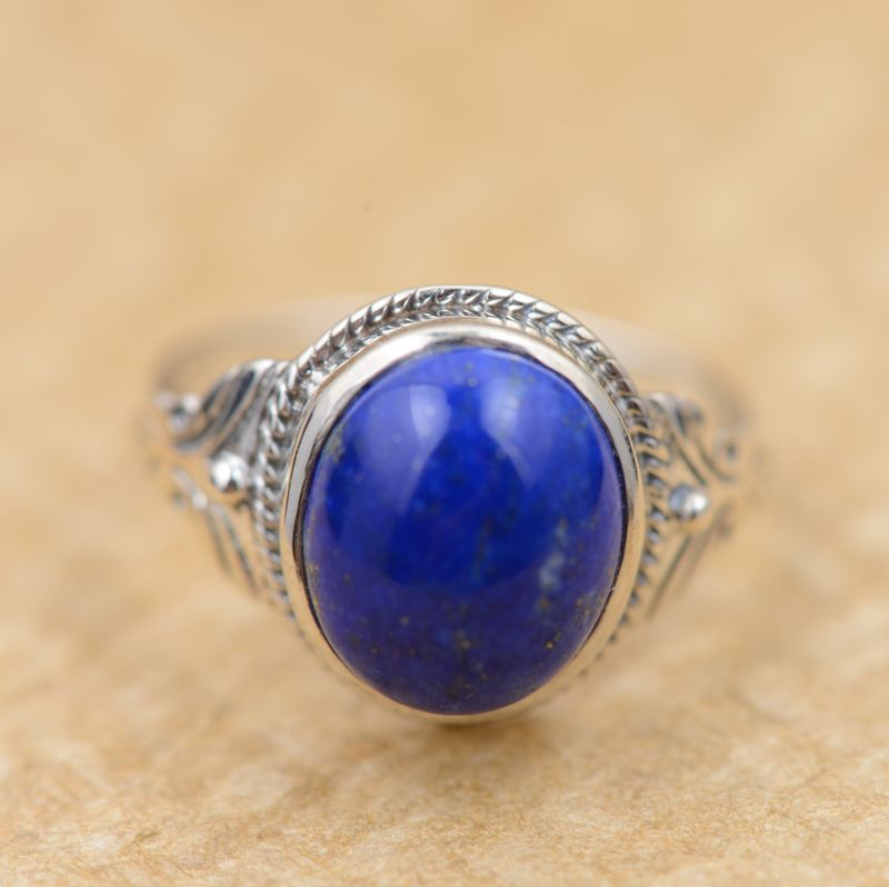 Lapis rings S925 silver inlaid gems without optimization of female models refined atmosphere jewelry wholesale silver s925 pure silver personality female models new beeswax