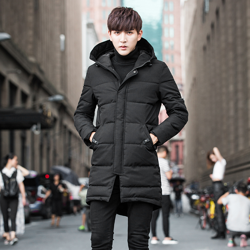 Winter jacket men long OverCoat new Thick padded coat slim Hooded Parka Men Cotton Warm Regular Formal Jackets And Coats black