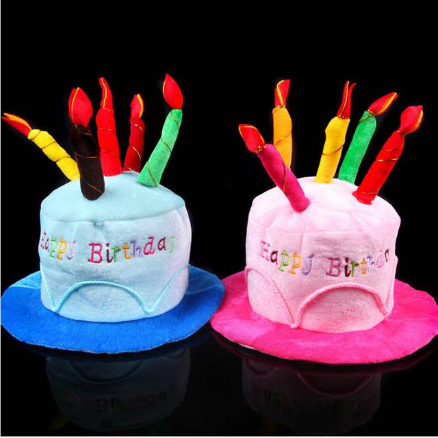 Birthday Cake Candle Hat Short Plush Adult Party Amusement Park Performing Dress Props Hats Halloween