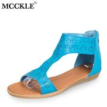 MCCKLE mujeres recortable sandalias de verano más el tamaño de las cuñas de  los zapatos sandalia para mujer gladiador señoras ve. d0c32ec70e5b