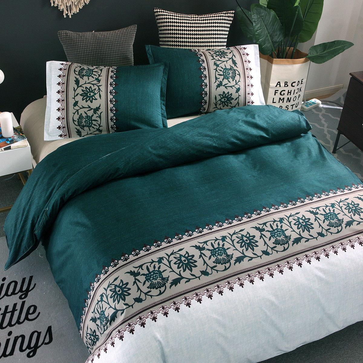 3 Colors Flower Printed Bedding Sets 6 Size Single Double Full Queen King Duvet Cover Set