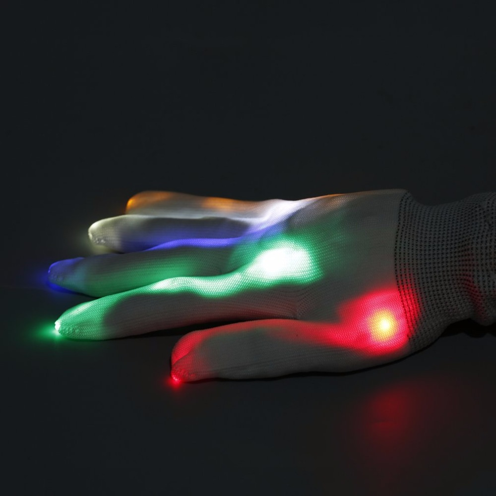 Pair of led gloves luminous flower finger light gloves party supplies dancing club props light up toys glowing unique gloves luminous costumes glowing gloves shoes light clothing men dance clothes for holiday lighting decor