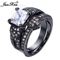 JUNXIN Black Gold Filled Jewelry White Zircon Male Female Heart Ring Sets Vintage Wedding Rings For Men And Women RB0524
