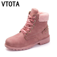VTOTA Women Winter Boots 2017 Casual Warm Snow Boots Waterproof Buckle Lace Up Rivet Shoes Woman