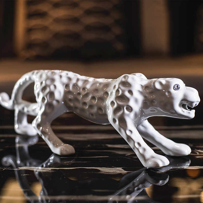 Ceramic, leopard, lucky, panther figure, ornaments, Home decor figurine, creativity, decoration, arts and crafts, business gifts
