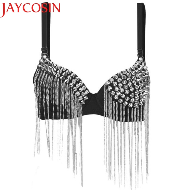0124a99538 Hot Bras for Women New Punk Goth Silver Studded Bra crop top Party All-over  Spike Rivet Tassels Metallic Punk Bra WAug16