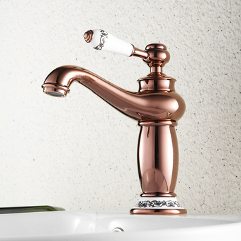 Basin Faucets Luxury Rose Gold Deck Mount Bathroom Faucet Vanity Vessel Sinks Mixer Tap Cold And Hot Water Tap basin faucets brass oil rubbed bronze black bathroom faucet deck mount vanity vessel sinks mixer tap cold and hot water tap 7269