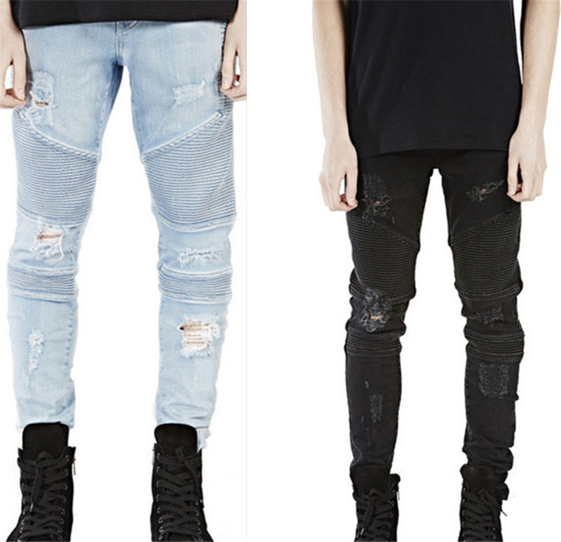 2016 new fashion casual blue black denim jeans men Slim Men tight ripped jeans free shippingsize