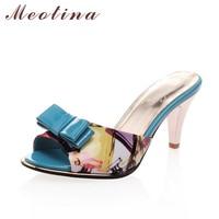 Big Size 40 Sweet Lady S Sandals Summer Peep Toe Slippers Stiletto High Heels Female Bow