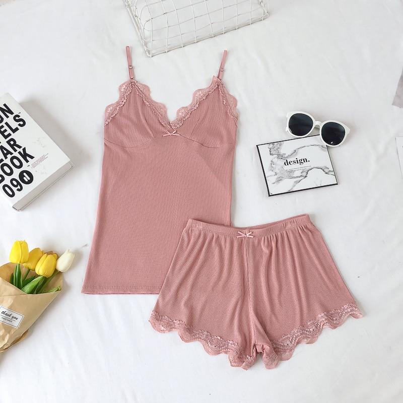 2018 New Top Summer Short Ladies Sexy Lace Cotton Sleeveless Set V-neck Sleepwear Solid Summer Home Wear Sleep Wear For Women