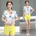 Moda Europeu 2016 novos das mulheres 2 peça conjuntos de verão senhoras de seda impressa calças curtas t-shirt conjuntos terno B0081