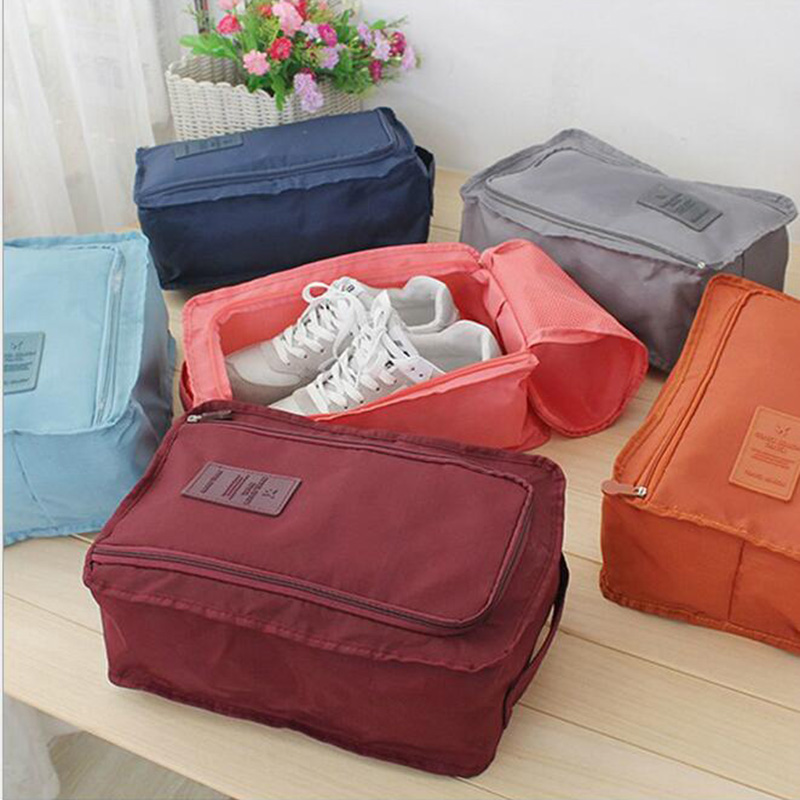 fashion Storage Bags Nylon Travel Portable Tote Shoes Pouch Waterproof Storage Bag 6 colors Home Storage & Organization