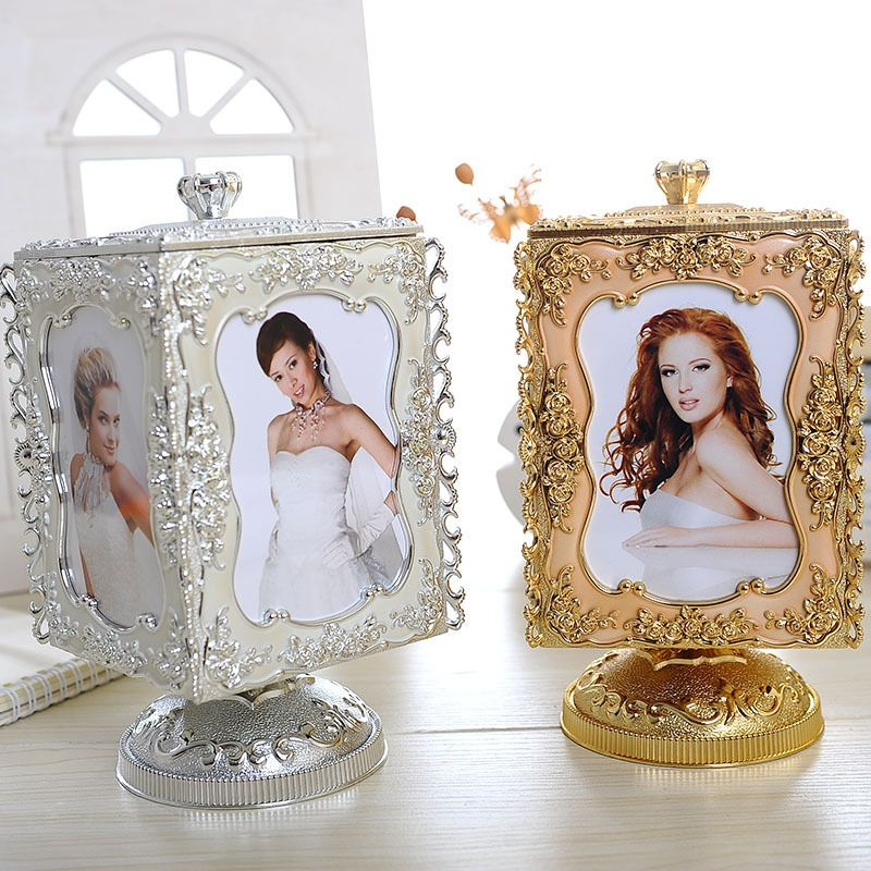 2016 four sides Rotation Wedding picture photo frame bed table frame with the music box plastic