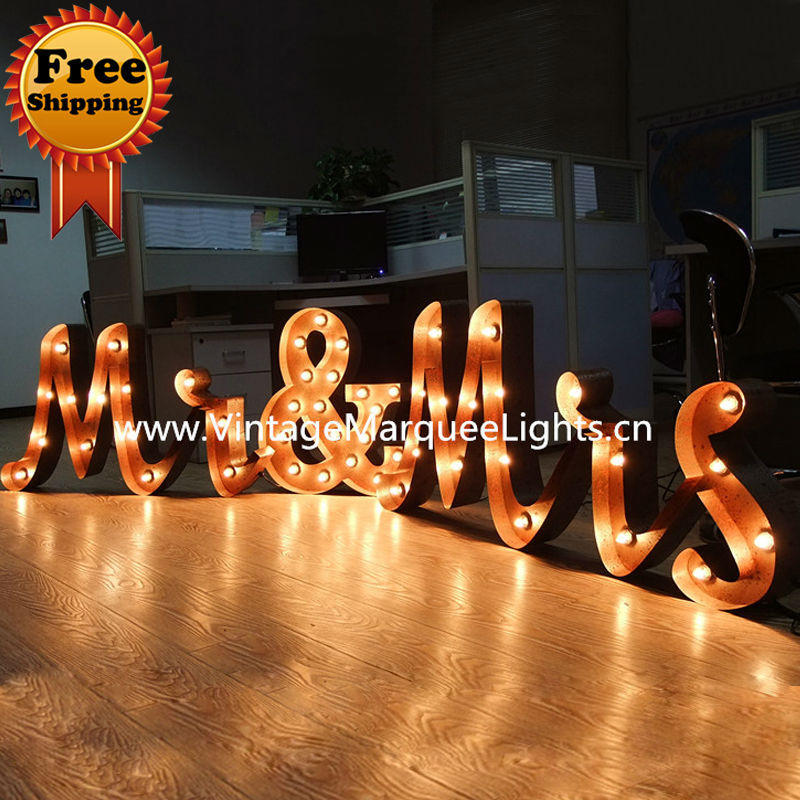 Mr And Mrs Marquee Wedding Letter Lights 24 Inch Vintage