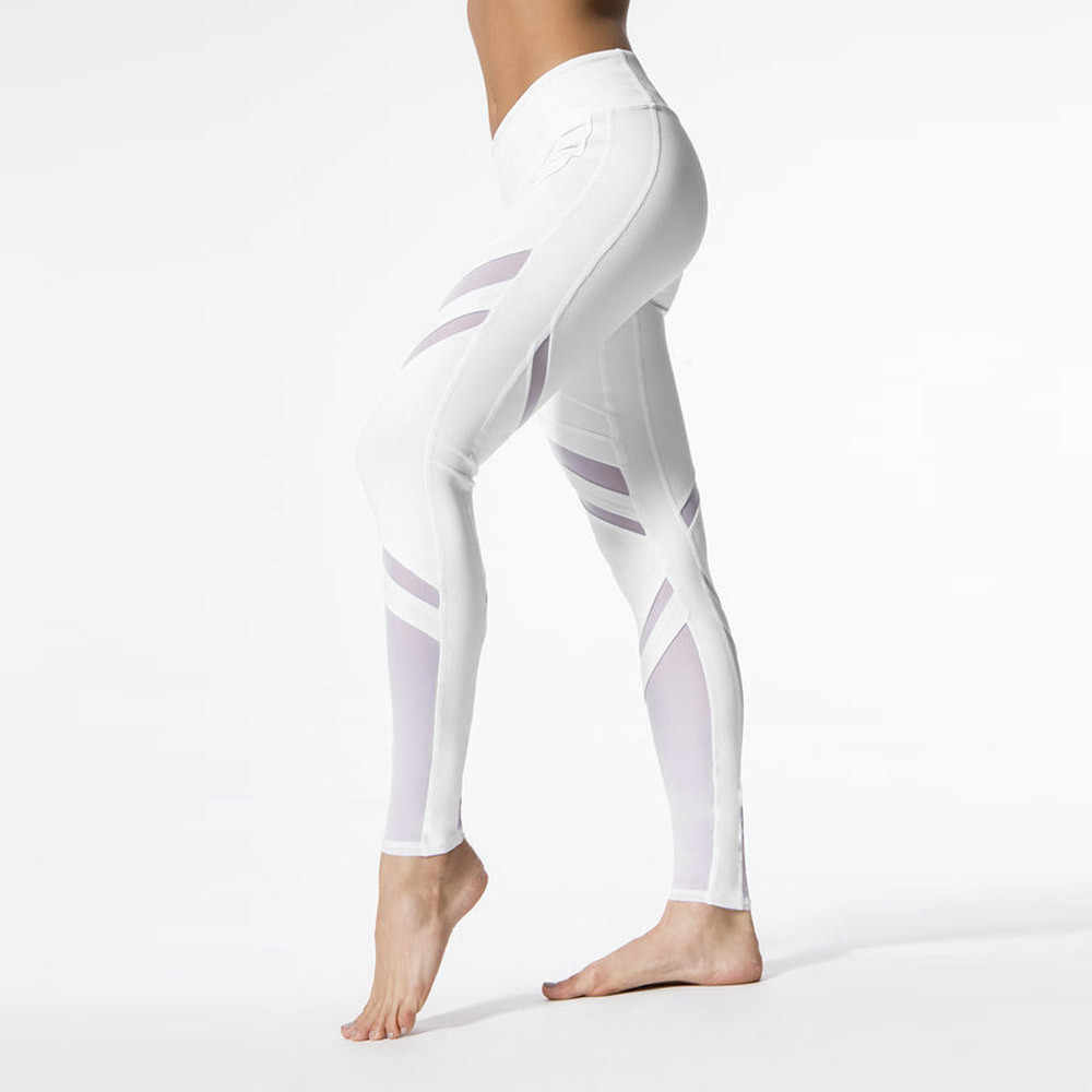8978b947c44 ... Tight White Net Yarn Splicing sports Women Workout Gym Running Sports  Fitness Leggings Pants Athletic Trouser ...