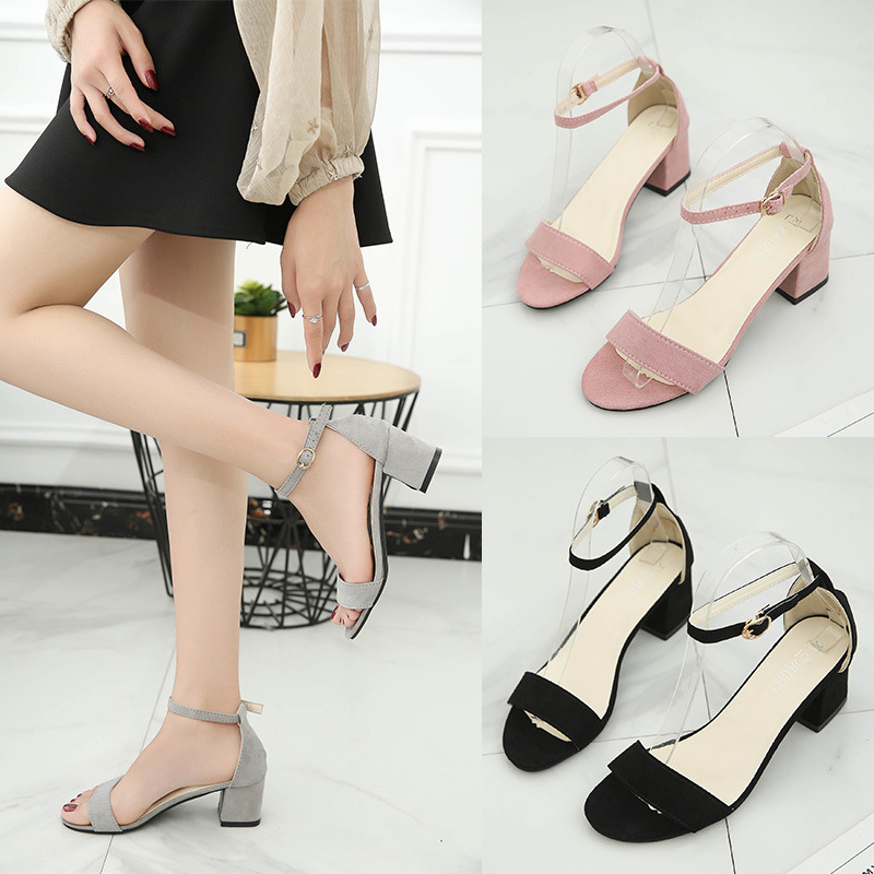 2019 summer new Korean version of the word simple simple wild with sandals female fish mouth word buckle sandals women(China)