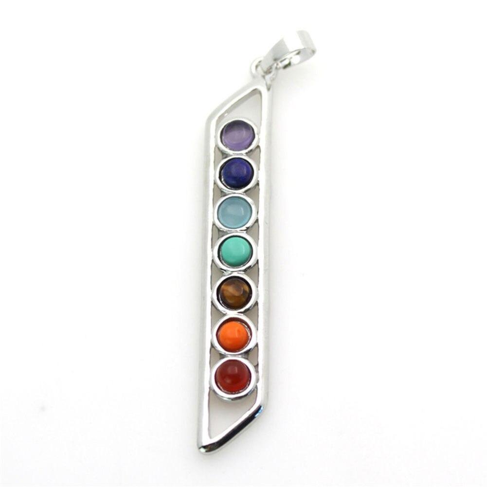 Fashion 7 Stone Chakra Crystal Symbol Healing Point Reiki Bead Pendant fit Necklace Buddhist Jewelry Woman Necklace