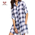 Casual 2017 Spring Black White Plaid Blouses Women Long Sleeve Long Section Of Loose Fashion Plaid Sexy Tops Women Shirts M-262