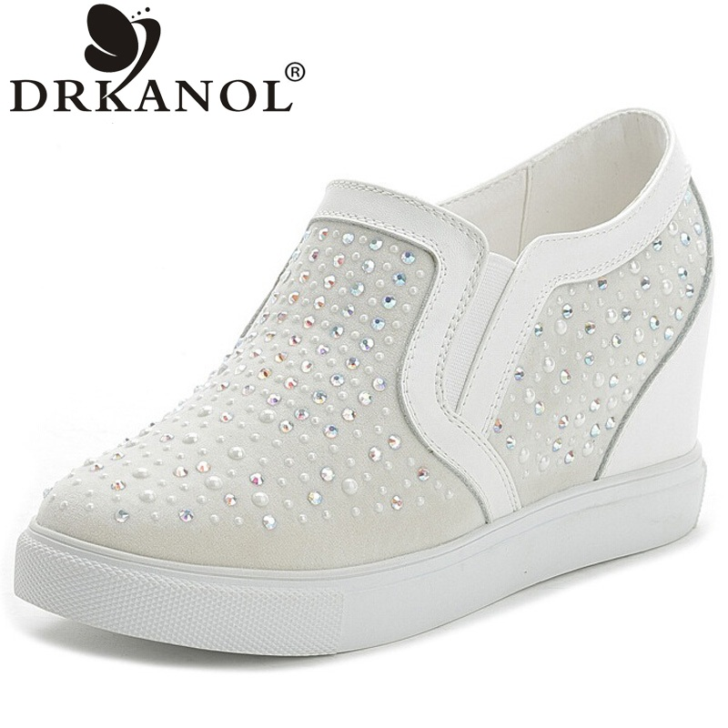 ФОТО New Wedge Women Casual Shoes 2016 High Quality Breathable Air Mesh Rhinestone Height Increasing Women Shoes Sapatos Feminino