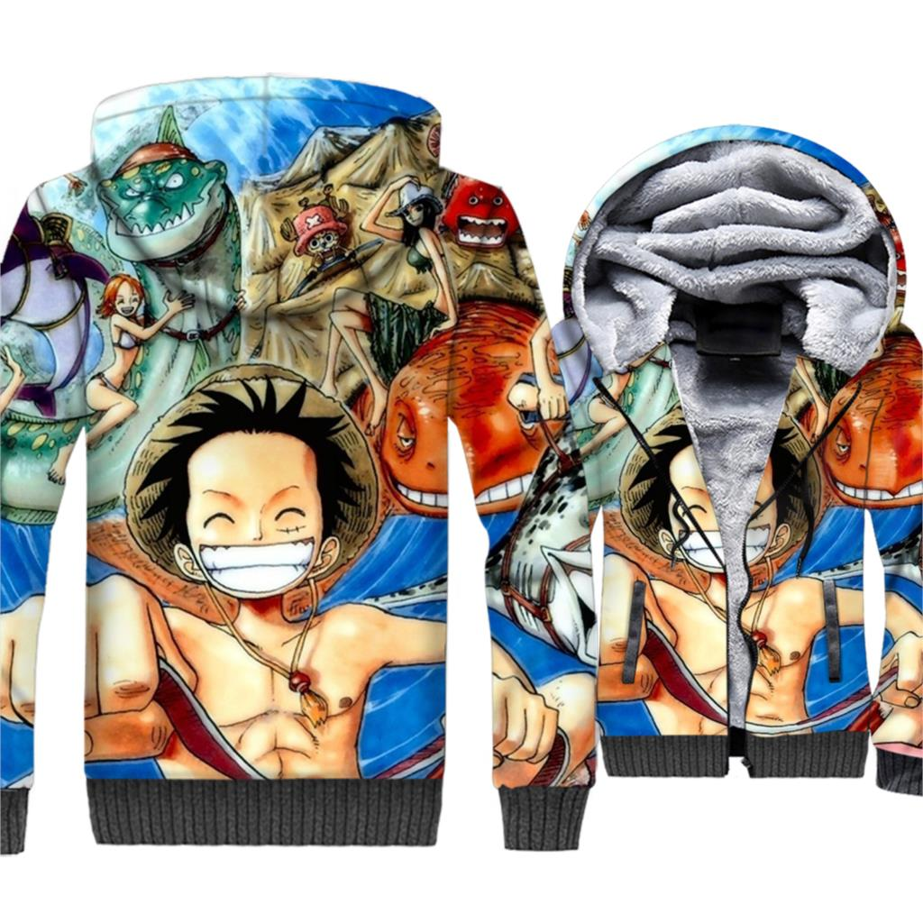 Anime One Piece 3D Hoodies Men Luffy Sweatshirts 2018 New Winter Thick Fleece Zipper Jacket The Pirate King Coat Brand Clothing