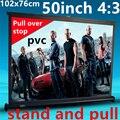 Thenew 50 polegada 4:3 pvc puxar de tela de suporte portátil para dlp projetor hd mini projetor frete grátis