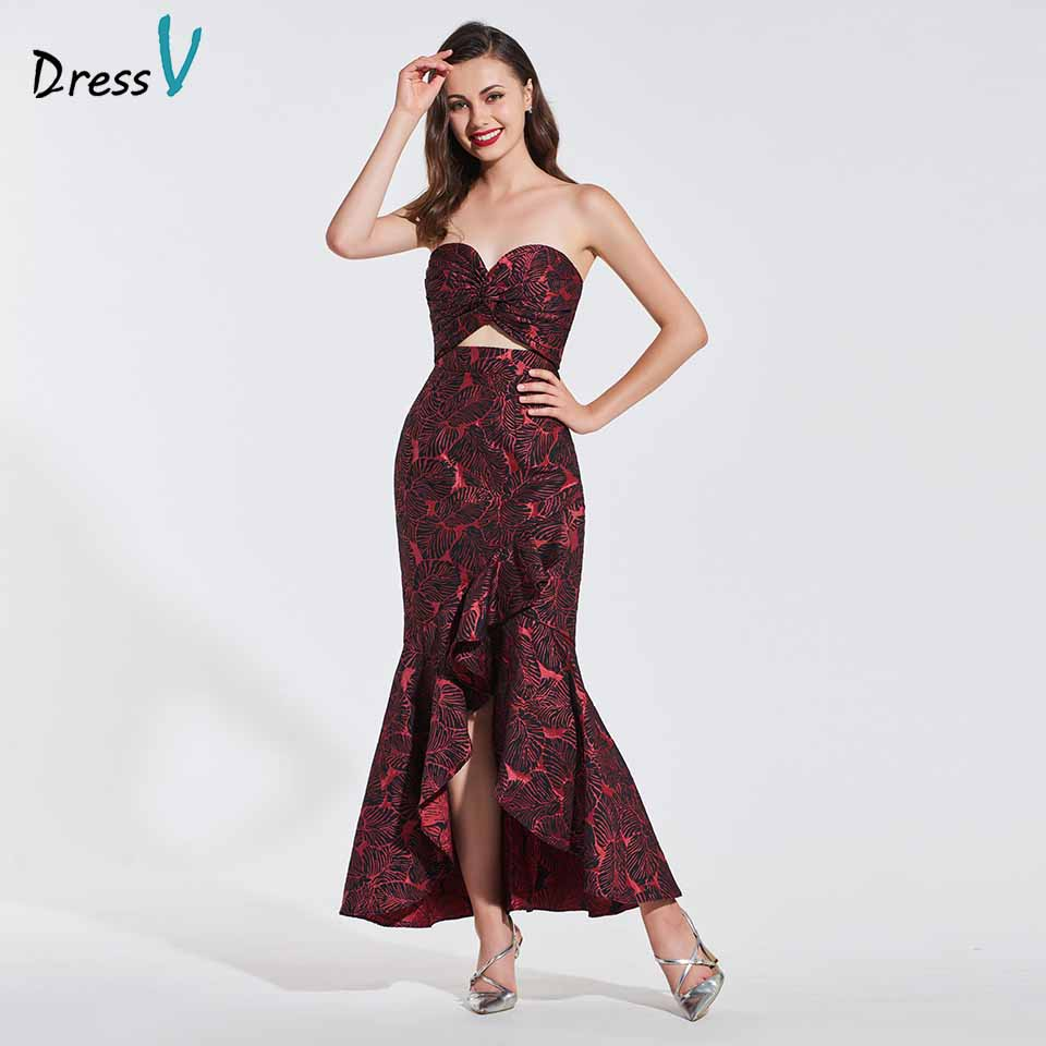 Dressv evening dress sweetheart neck sleeveless print ruffles ankle length mermaid wedding party formal dresses