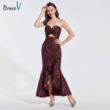 Dressv evening dress sweetheart neck sleeveless print ruffles ankle length mermaid wedding party formal dresses