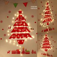 Felt Christmas Tree with Lovely Ornaments Door Wall Hanging Decoration New Year Christmas Children Christmas Gift use Lamp Night