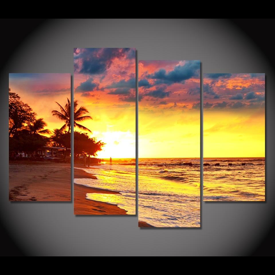 4 Piece Canvas Art Canvas Painting Sunset Coast Palms HD Printed ...