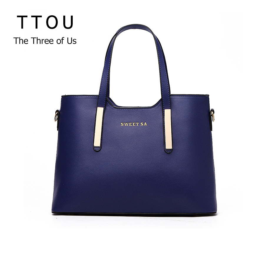 Luxury Women Handbag High Quality PU Leather Top-handle Tote Elegant Lady Solid