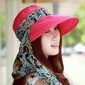 2016 Sombreros de Verano de Moda de Protección Facial Plegable Anti-Ultravioleta Del Sol De Las Mujeres Ancho Grande Ala Sombrero Del Verano de Las Mujeres Ajustables