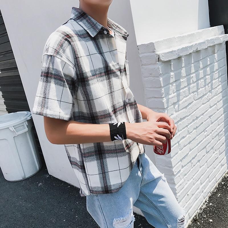 LEGIBLE Men Plaid Short Shirts 2019 Mens Harajuku Streetwear Casual Loose Hip Hop Half Sleeve Shirt Male Fashion 4