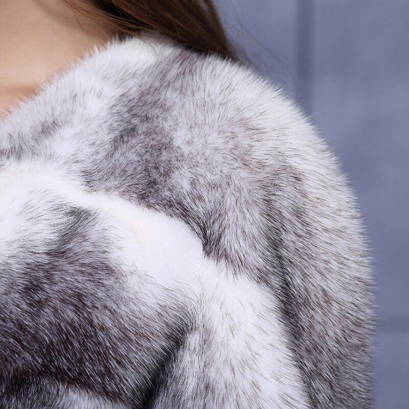 LVCHI 2019 Çapraz Çizgili kadın Gerçek Kürk Deri Çapraz Vizon - Bayan Giyimi - Fotoğraf 6