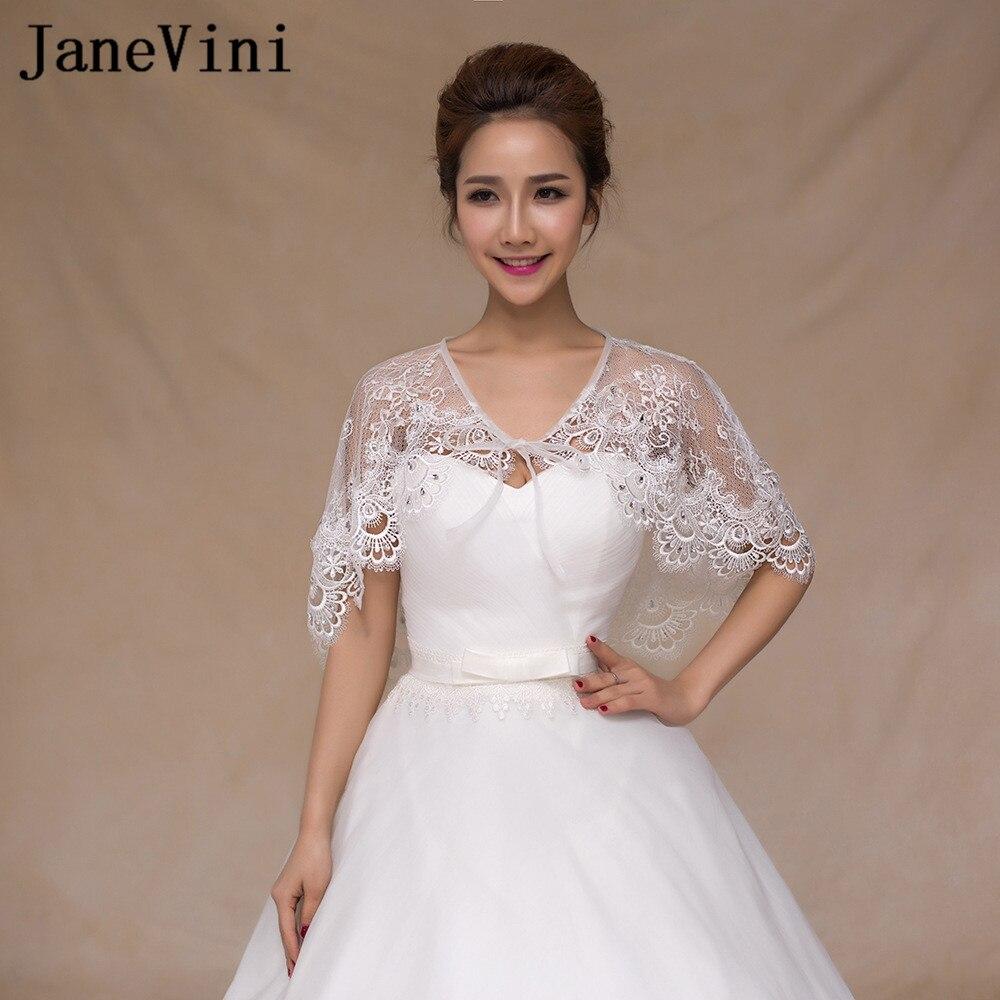 JaneVini 2018 New Beaded Lace Up Bridal Cape For Wedding Dresses Women Summer/Spring Lace Bolero Sposa Short Cloak Shrug Jacket
