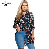 Misskoko Women Plus Size Shirt 2017 Floral Printed Casual Turn Down Collar Long Shirt Big Size
