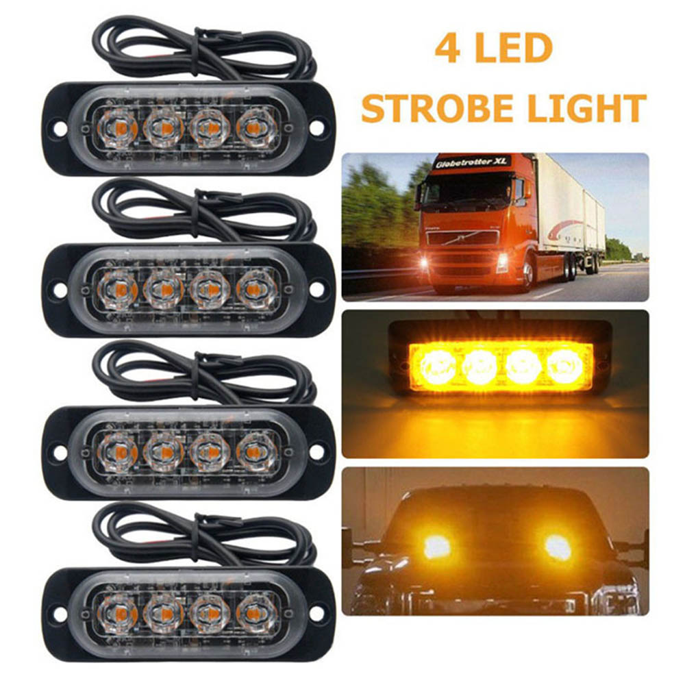 Car-Styling Bright White Yellow Red Blue Amber 4 LED Car Truck Van Beacon Strobe Warning Flashing Emergency Grille Police Light(China)