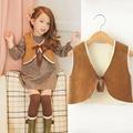 Outono de pele do Inverno colete menina moda roupas para crianças Coreano para meninas lã de carneiro cardigan mais quente colete casacos crianças