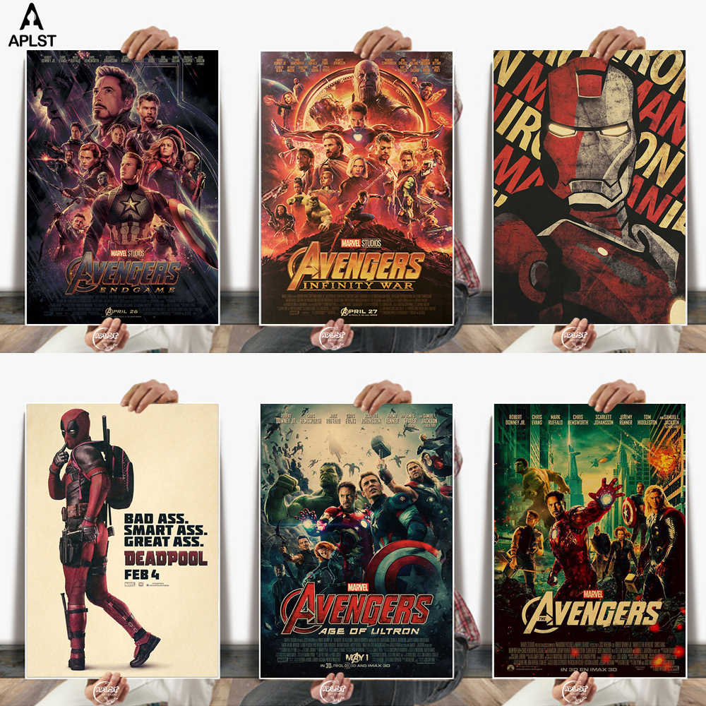 Marvel The Avengers Series Iron Man Captain America Vintage Kraft Paper Posters Wall Sticker Decor for Student Dormitory Bedroom