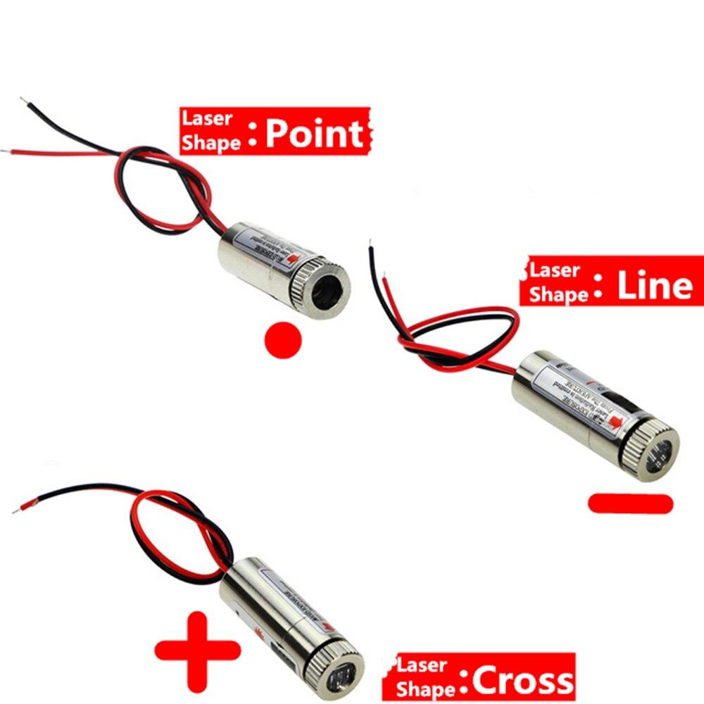 Offre spéciale 650nm 5mW Point rouge/ligne/croix Laser Module tête lentille en verre focalisable classe industrielle