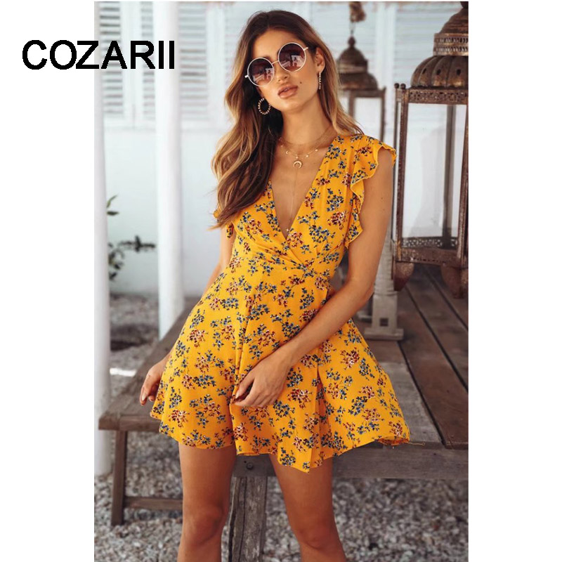 COZARII Women Dresses New Arrival 2018 Navy Buttoned Keyhole Back Flower Print Scoop Neck Sleeveless A Line Dress Dropshipping
