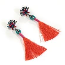Ethic Colorful Crystal Tassel Earrings For Women Geometric Flower Dangle Earrings Bohemian Engagement Jewelry colorful enamel green tassel dangle earrings